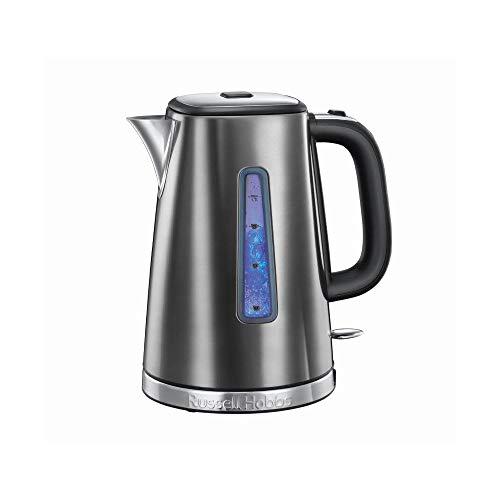 (Grey, Luna Kettle) - Russell Hobbs 23211 Luna Grey Quiet Boil Electric Kettle, Stainless Steel, 3000 W, 1.7 Litre