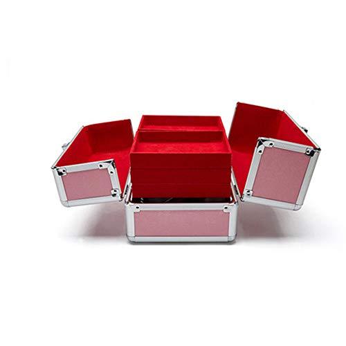 Boîte à Bijoux Sac Cosmétique Multi-Fonction Trousse à Maquillage en Aluminium imprimé Peint à poignée Dure Portable métal Rose étanche à l'eau
