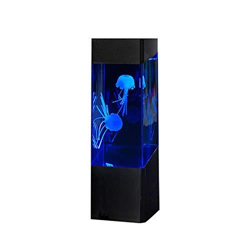 CANCYCC Jellyfish - Lámpara de lava con USB y batería, con control remoto de 7 colores, luz nocturna para acuario con dos peces artificiales