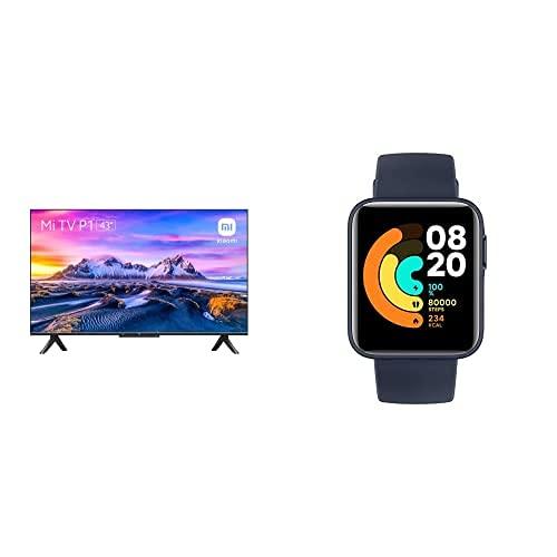Xiaomi Smart TV P1 43 Pulgada (Frameless, UHD, Sintonizador Triple, Android 10.0,Compatible con Alexa, Bluetooth y Xiaomi Mi Watch Lite - Reloj Inteligente, GPS, Control frecuencia cardíaca