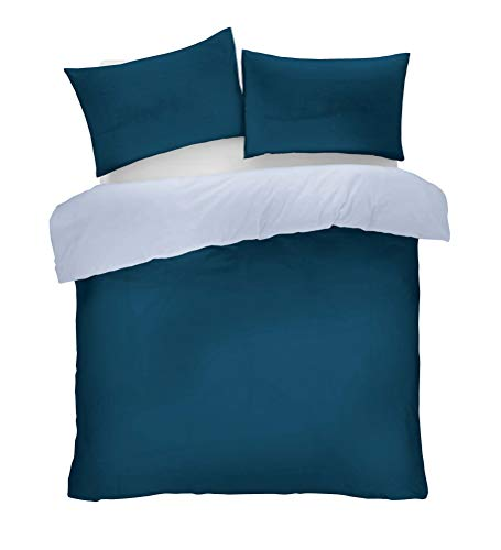 Lions Navy and Blue Reversible Plain Duvet Quilt Cover Set Double With Pillowcase Easy Care Bedding