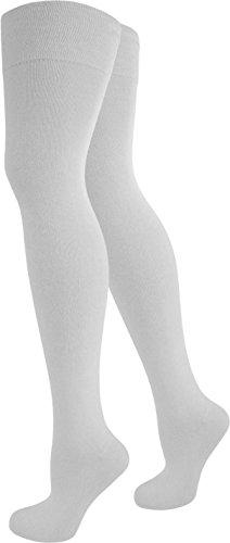 normani 1-10 Paar Damen Karneval Kostüm Fasching Baumwoll-Overknees Blickdicht Halterlose Strümpfe mit Streifen Farbe Weiß Größe 1 Paar
