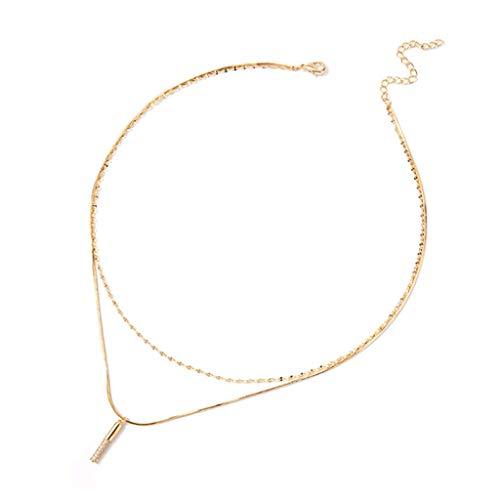 ZANZAN Collares en capas para mujeres, delicados collares chapados en oro, collar con capas, gran regalo para mujeres y niñas, collares de oro para hombres y mujeres