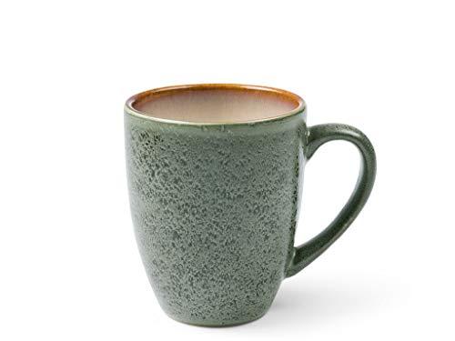 BITZ Kaffeetasse/Kaffeebecher, Tasse aus robustem Steinzeug, 30 cl, grün außen/cremefarben innen