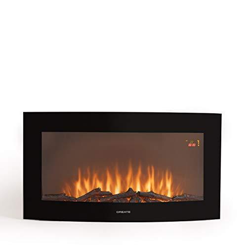 """CREATE IKOHS ELECTRIC FIRE - Chimenea Eléctrica de pantalla curva (Electric fire - L 35"""")"""
