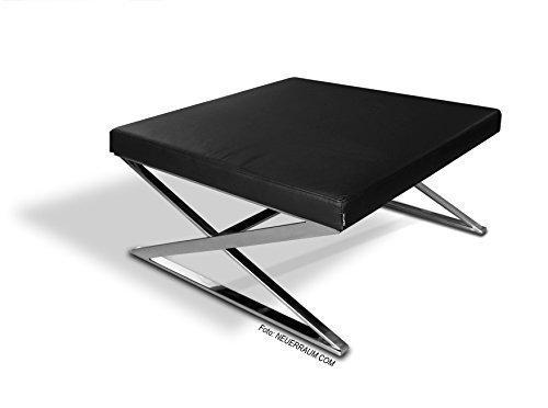 NEUERRAUM Unser Neuer ZICK-Zack Bauhaus Couchtisch mit massiven Füßen aus Edelstahl und Echtleder Bezug. 90 x 90 cm / 21 kg. Handarbeit.