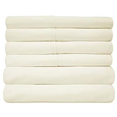 Sweet Home Collection Quality Deep Pocket Bed Sheet Set-2 Extra Pillow Cases, Great Value, Queen, Ivory, 6 Piece