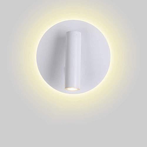 JSKK De Hierro Parajado Lectura Apliques De Pared,LED Creativo Iluminación De Pared,Moda Decorativa Sencillo Personalidad Lámpara De Pared,para Dormitorio Sala-Blanco a (6x5inch)