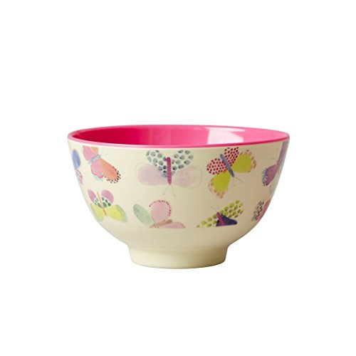Rice Melamin Bowl with Butterfly Print