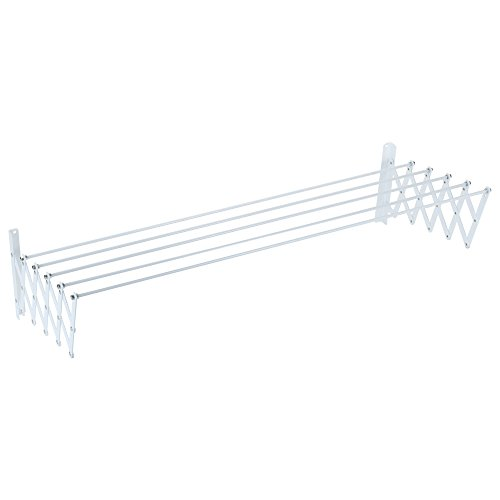 Sauvic 89808 - Tendedero Pared Extensible, Acero con Recubrimiento Plástico Anticorrosivo, color blanco, 150 x 78 x 26,5 cm