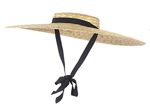 Jelord Womens Elegant Boater Straw Hat Wide Brim Flat Top Floppy Derby Straw Hat Beach Sun Hats with Chin Strap Black 18CM