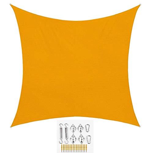 XISENOCI Toldo Cuadrado con protección Solar, protección Solar, 95%, Resistente al Agua, para Fiestas en el Patio al Aire Libre (Amarillo Mango) (tamaño: 5 * 5 m)