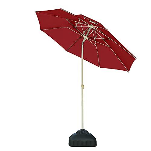 Paraguas para exteriores, sombrilla de mesa de terraza, doble capa, resistente al viento, protección solar, protección contra rayos UV, paraguas de playa de 2,3 x 2,3 m (tamaño: 2,3 m, color: D)