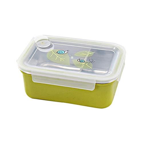 HBOS Edelstahl-Cartoon-Bento-Boxen, BPA-freie auslaufsichere Brotdosen, tragbar für Kinder, Erwachsene, Büro, Schule, 900 ML, grün