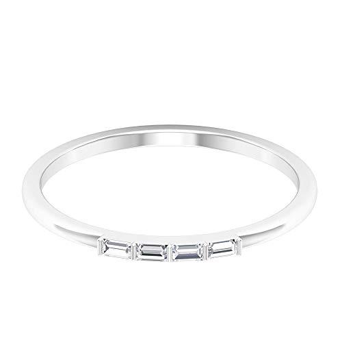 Simple Wedding Ring, Minimalist Bridal Ring, HI-SI Diamond Wedding Band, Baguette Cut Ring, Bridesmaid Ring, Stackable Anniversary Ring, Promise Ring, 14K White Gold, Size:UK K1/2
