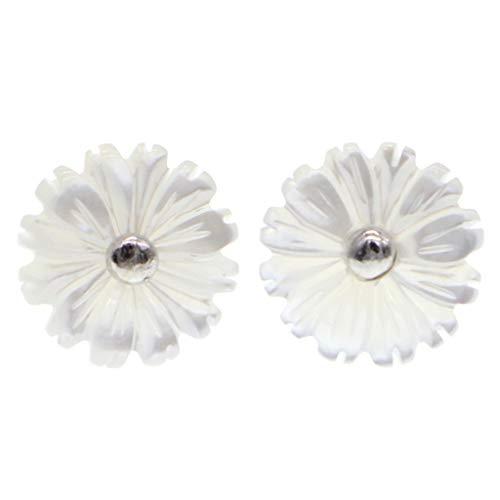 Pendientes de plata de ley 925 con nácar crisantemo de flor pequeña