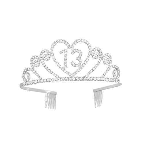 Beaupretty Corona Cumpleaños 13 Años Diseño de Corazón Diadema Cumpleaños Tiara Cristal...