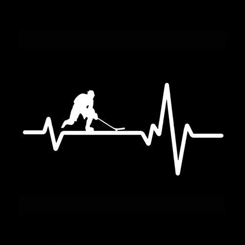 Fahrzeug-Autoaufkleber Interessante Herzschlag-Linie Hockey-Auto-Aufkleber-Vinyldekor-Qualitäts-Schattenbild 14.6 * 6.8CM 2 Stück