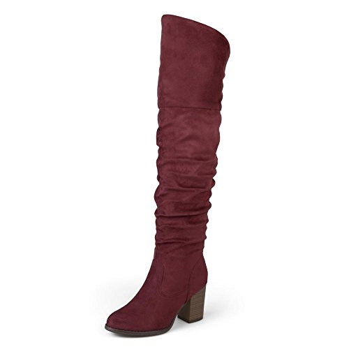 Brinley Co. Womens Regular Wide Calf and Extra Wide Calf Ruched Stacked Heel Faux Suede Over-The-Knee Boots Wine, 9 Wide Calf US