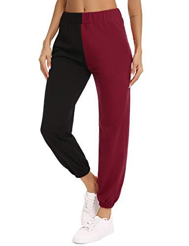 Aiboria Damen Jogginghose Baumwolle Sporthose Elastic High Waist Sweatpants Lang Freizeithose Color Block Pants mit Taschen