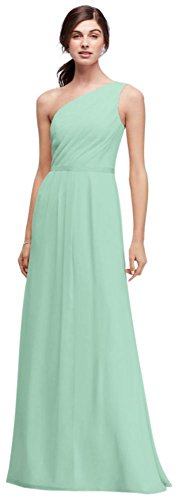 David's Bridal Side-Ruched One-Shoulder Bridesmaid Dress Style POB17003, Mint, 24