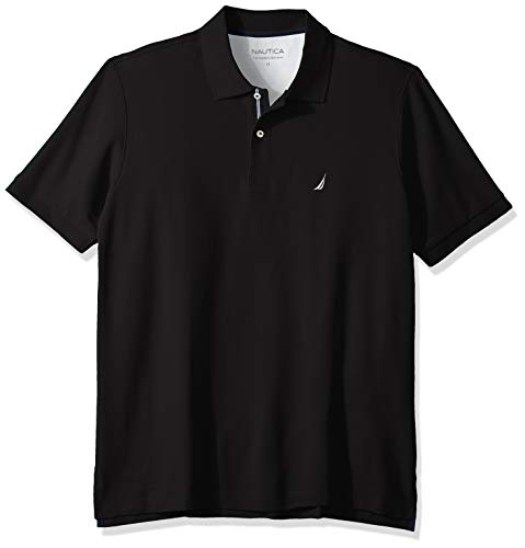 Nautica Men's Classic Fit Short Sleeve Solid Performance Deck Polo Shirt, True black, LT Tall