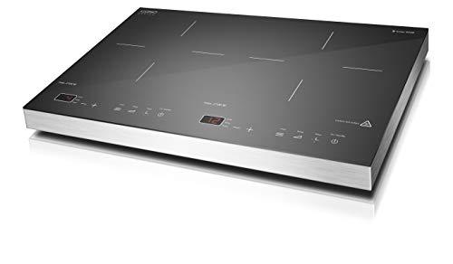 CASO S-Line 3500 Induktionskochplatte doppelt mobil, 3500 W PowerSharing, SmartControl 60-240°C, 180 Min. Timer, Töpfe bis 24cm, Glaskeramik Edelstahl