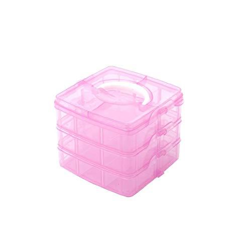 Rose 3 Niveau Réglable 18 Fente Compartiment Plastique Artisanat Boîte De Rangement D'outils Petit Conteneur Bijoux