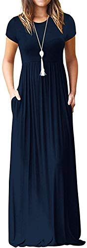 DEARCASE Women's Short Sleeve Casual Loose Long Maxi Dresses with Pockets Navy Blue Small