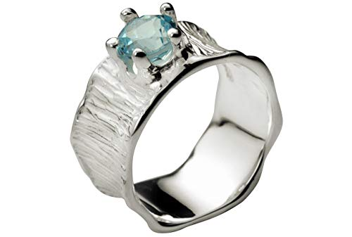 SILBERMOOS Damen Bandring Blautopas Ring mit blauem Topas Lotusblatt-Struktur 925 Sterling Silber, Größe:56 (17.8)