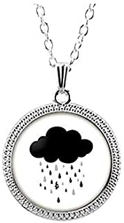 Hand Drawn Black Clouds and Raindrops Illustration Necklace,Vivid Glass Necklace,Innovative Necklace Gift