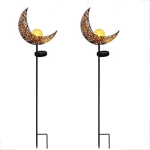XVZ Juego de 2 luces solares de luna para jardín, de metal tallado, resistente al agua, para césped, patio, yardo, boda, fiesta, decoración, luz blanca cálida