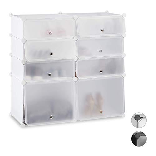 Relaxdays Zapatero Bajo Modular con 8 Compartimentos, Blanco, 91 x 94.5 x 36.5 cm