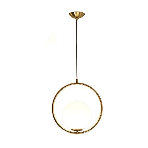 Creatieve ring metalen plafond hanglamp sferisch glas lampenkap hanglamp restaurant bar decor verlichting lantaarn E27 1-licht slaapkamer bedlamp, ketting: 45 cm (instelbaar), D-B goud