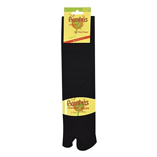 3 Paar Sandalen-Socken auch als ,,Tabi-Socks oder ,,Samurei-Socks'' bekannt für Damen und Herren, CH-153 (One Size, Schwarz)