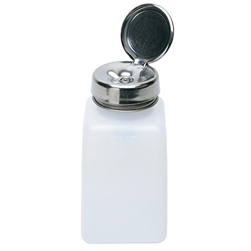 MENDA 35309 High-Density Polyethylene/Hdpe/Steel/Low-Density Polyethylene/Ldpe Dispensing Bottle, One-Touch Liquid Dispenser Pump, Natural Square HDPE, 6 oz, 6 fl. oz. Capacity