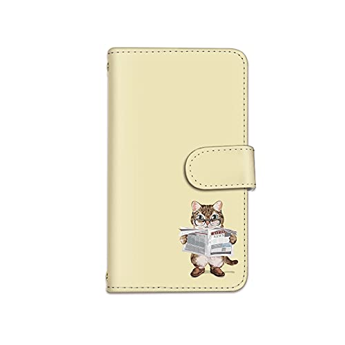 [bodenbaum] iPhone13 iPhone 13 手帳型 スマホケース カード スマホ ケース カバー ケータイ 携帯 Apple アップル アイフォンサーティーン docomo au SoftBank SIMフリー 猫 新聞 ネコ ワンポイント k-003 (E.イエロー)