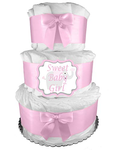 Pink It's a Girl 3-Tier Diaper Cake -...