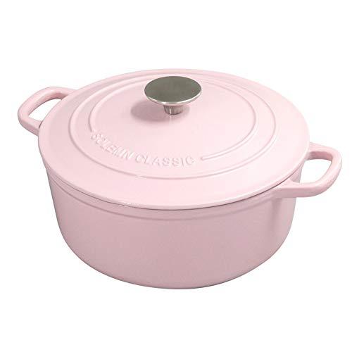 Cazuela Cazuela De Inducción Ovalada De 24 Cm / 3.9L Con Revestimiento De Esmalte Resistente olla de sopa (Color : Rosado)