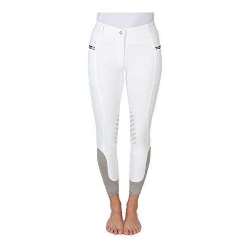 PFIFF 102847 Helen Pantalon d'équitation pour femme avec grip genoux et poche pour téléphone portable Blanc/gris 36 tailles