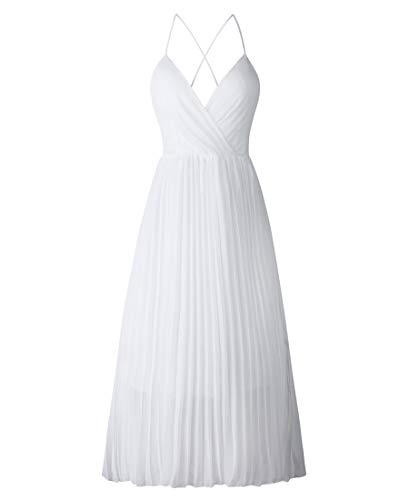 Avondii Damen Ärmellos Chiffon Kleid Elegant V-Ausschnitt Partykleid Schulterfrei Sommerkleid (M, Weiß)