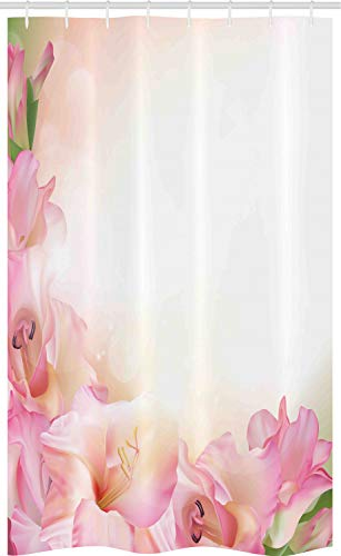 ABAKUHAUS Pink & Weiß Schmaler Duschvorhang, Verträumte Orchidee, Badezimmer Deko Set aus Stoff mit Haken, 120 x 180 cm, Pfirsich Grün Rosa