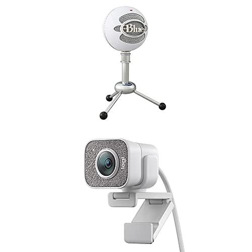 Blue Microphones Snowball Classic Microphone USB Qualité Studio pour Enregistrement+StreamCam : Webcam pour Streaming Youtube+M350 Pebble Souris Sans Fil, Bluetooth ou 2,4 GHz