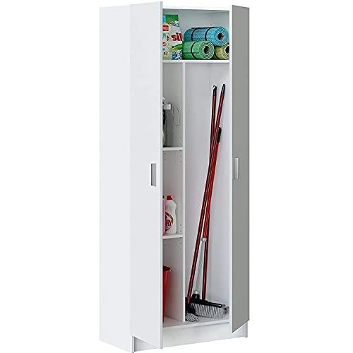 Mediawave Store - Mobile Multiuso Armadietto Portascope con 2 Ante di Colore Bianco, Armadietto per Casa, Bagno, Lavanderia, Stile Moderno 73x37x180cm 240800