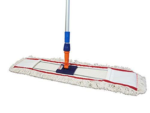 Clim Profesional® - Mopa plana industrial de algodón de 100 cms con bastidor abatible y mango de aluminio 150 cms para limpieza de suelos en seco y húmedo