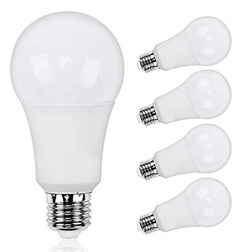 JZlamp Luz LED E27 220V 240V Potencia Real 5W 7W 9W 12W 15W Bombilla LED de Larga duración (5 Piezas),Warm White,5W