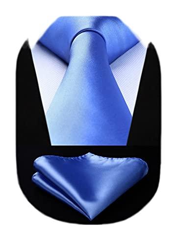 HISDERN Cravatta blu tinta unita da uomo Fazzoletto da sposa Classico set da cravatta fazzoletto da taschino