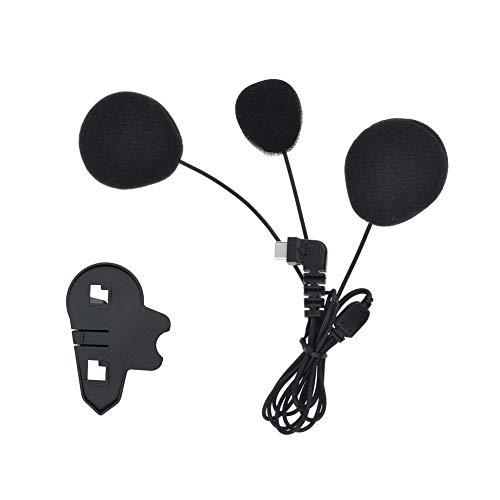 QSPORTPEAK Micrófono Auricular Cable Suave Auricular y Clip Accesorio para BTS3 Serie Casco de la Motocicleta Bluetooth Interphone Moto Intercomunicador(Interfaz de Tipo C)