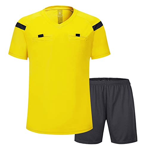 shinestone Herren Fußball kurzen Ärmeln Schiedsrichter Shirt REFEREE JERSEY, Referee, gelb
