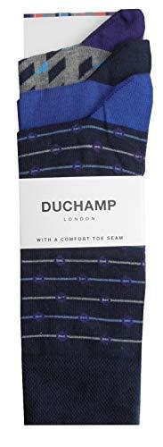 Duchamp London Herren Socken, 3er-Pack, Blau / Grau, Einheitsgröße 40–45